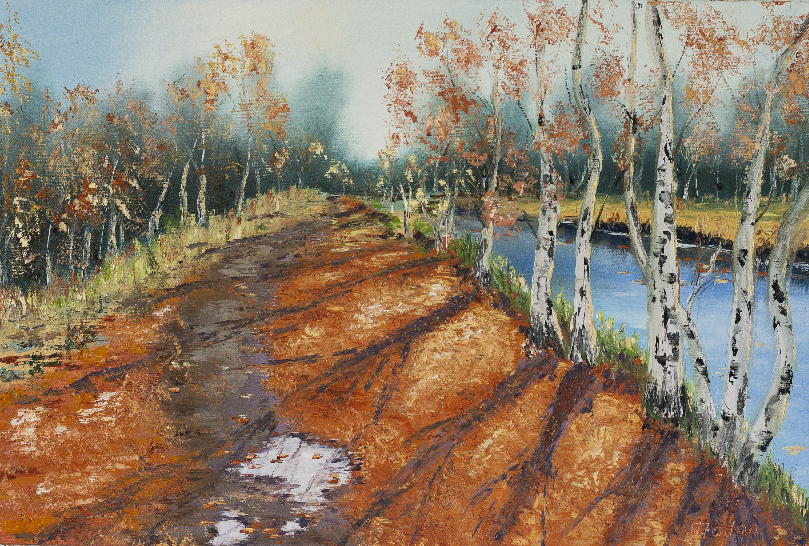 Birch trees in the fall i learn painting for Www painting com