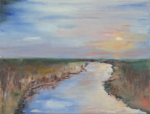"""River in the fields"" 9*12 oil on stretched canvas"