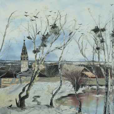 "Reproduction of ""The rooks have come back"" by Savrasov"