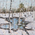 Puddle in winter forest 16*20